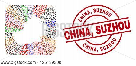 Vector Collage Xinjiang Uyghur Region Map Of Different Pictograms And China, Suzhou Stamp. Mosaic Xi
