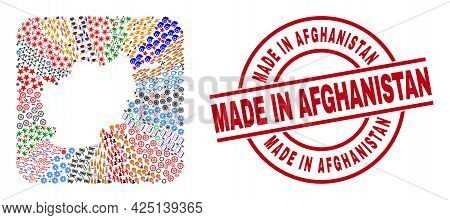 Vector Collage Afghanistan Map Of Different Symbols And Made In Afghanistan Badge. Collage Afghanist