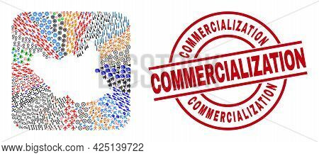 Vector Collage South Sudan Map Of Different Pictograms And Commercialization Seal. Mosaic South Suda