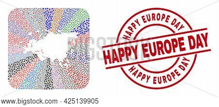 Vector Collage Europe And Asia Map Of Different Symbols And Happy Europe Day Seal Stamp. Mosaic Euro