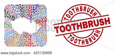 Vector Mosaic Czech Republic Map Of Different Pictograms And Toothbrush Seal Stamp. Mosaic Czech Rep