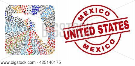 Vector Collage Florida State Map Of Different Pictograms And Mexico United States Seal Stamp. Collag