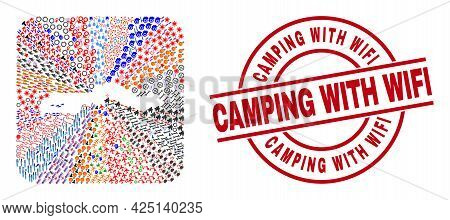 Vector Collage The Gambia Map Of Different Symbols And Camping With Wifi Seal Stamp. Collage The Gam