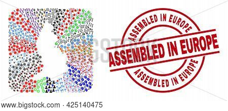 Vector Mosaic Liechtenstein Map Of Different Icons And Assembled In Europe Seal Stamp. Mosaic Liecht