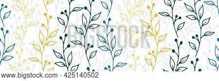 Berry Bush Sprigs Organic Vector Seamless Background. Boho Floral Textile Print. Greenery Plants Fol