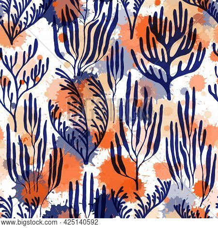 Coral Reef Seamless Pattern., Red Sea Coral Reef Branches And Bushes Cartoon.