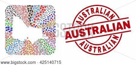Vector Collage Australian Victoria Map Of Different Icons And Australian Seal Stamp. Mosaic Australi