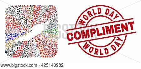 Vector Mosaic Anguilla Island Map Of Different Symbols And World Day Compliment Seal. Mosaic Anguill