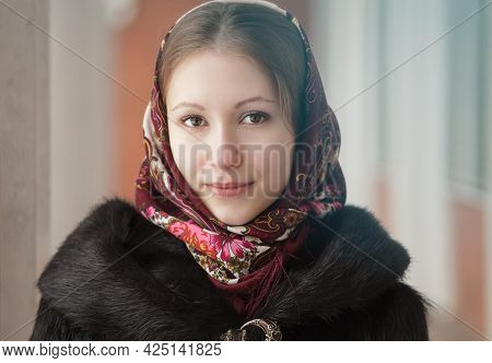 Portrait Of Young Beautiful Woman In Russian Folk Patterned Shawl, Outdoor. Traditional Headscarf. R