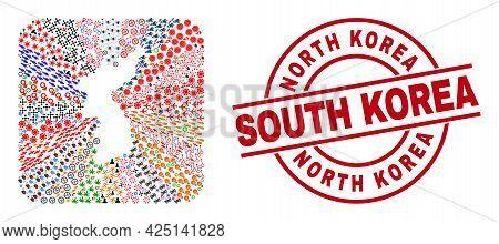 Vector Mosaic Korea Map Of Different Symbols And North Korea South Korea Seal Stamp. Mosaic Korea Ma