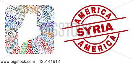 Vector Collage Maine State Map Of Different Icons And America Syria Stamp. Mosaic Maine State Map Cr