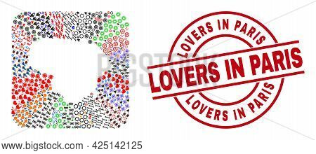Vector Mosaic Lithuania Map Of Different Pictograms And Lovers In Paris Stamp. Mosaic Lithuania Map