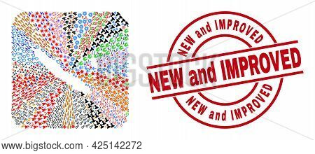 Vector Mosaic New Caledonia Islands Map Of Different Pictograms And New And Improved Seal Stamp. Mos