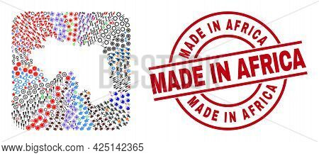 Vector Collage Republic Of Guinea Map Of Different Symbols And Made In Africa Seal Stamp. Collage Re