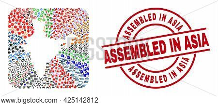 Vector Collage India Map Of Different Icons And Assembled In Asia Badge. Collage India Map Designed