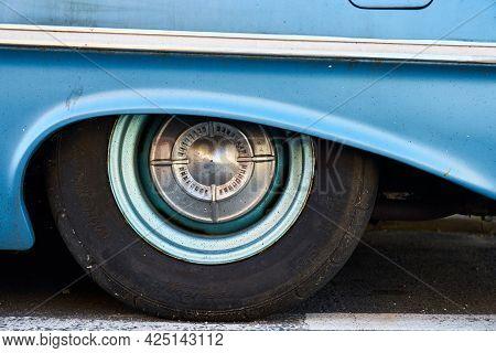 Ramsgate, United Kingdom - June 10, 2021: Wheel Arch Detail Of A 1961 4 Door Chevrolet Bel Air.