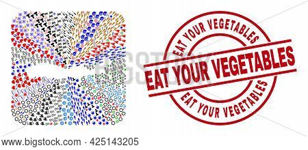 Vector Collage Flores Island Of Indonesia Map Of Different Pictograms And Eat Your Vegetables Seal S