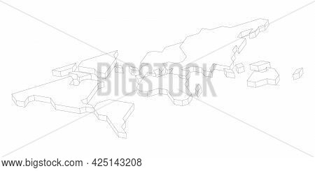 3d White Map Of World. Simplified Vector Illustration