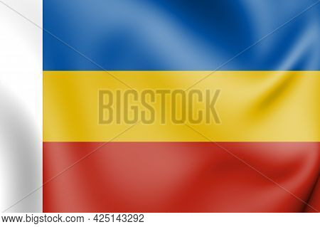 3d Flag Of Rostov Oblast, Russia. 3d Illustration.