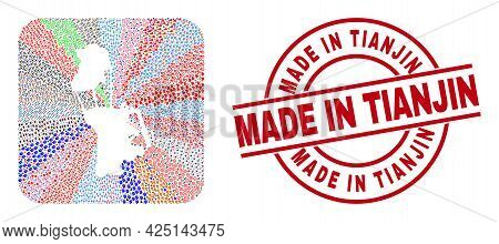 Vector Collage Macau Map Of Different Symbols And Made In Tianjin Stamp. Collage Macau Map Created A