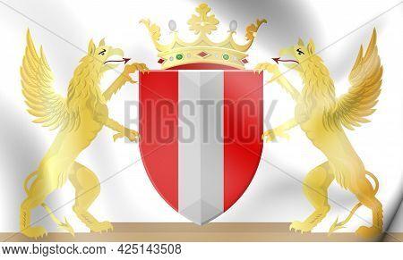 3d Dordrecht Coat Of Arms (south Holland), Netherlands. 3d Illustration.