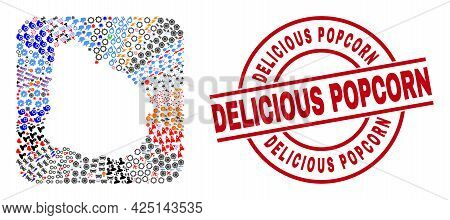 Vector Mosaic Uruguay Map Of Different Icons And Delicious Popcorn Seal. Mosaic Uruguay Map Designed