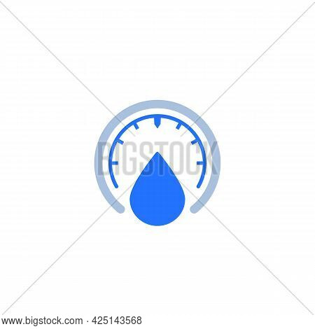 Humidity, Water Level Meter Icon On White