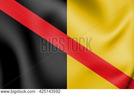 3d Flag Of Fontaine-l'eveque (hainaut Province), Belgium. 3d Illustration.