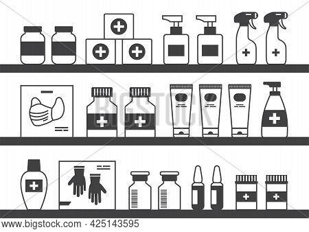 Pharmacy Medicine Vector Shelf, Showcase Drugstore, Black Bottles, Cartoon Boxes Pills And Container