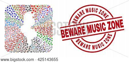 Vector Collage Tunisia Map Of Different Icons And Beware Music Zone Badge. Mosaic Tunisia Map Create