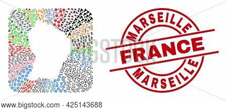 Vector Mosaic French Guiana Map Of Different Icons And Marseille France Seal Stamp. Mosaic French Gu
