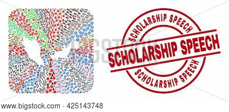 Vector Collage Malaysia Map Of Different Pictograms And Scholarship Speech Seal Stamp. Collage Malay