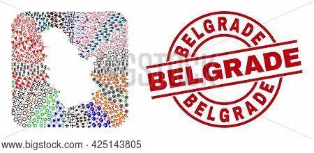 Vector Collage Serbia Map Of Different Pictograms And Belgrade Seal Stamp. Collage Serbia Map Create