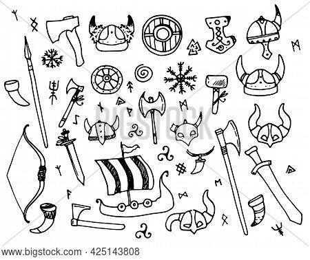 Vikings Vector Set. Hand-drawn Set Of Scandinavian Vikings Helmet With Horns, Sword, Boat, Axe, Spea