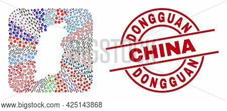 Vector Collage Shanxi Province Map Of Different Icons And Dongguan China Seal Stamp. Collage Shanxi