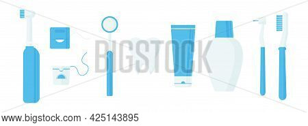 Oral Care Vector Set Icon, Dentistry Hygiene, Toothbrushes, Toothpaste, Floss, Tools For Mouthwash I