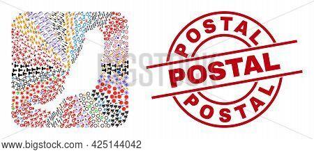 Vector Mosaic Fuerteventura Island Map Of Different Symbols And Postal Stamp. Mosaic Fuerteventura I