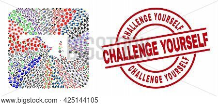 Vector Mosaic Maryland State Map Of Different Pictograms And Challenge Yourself Stamp. Mosaic Maryla