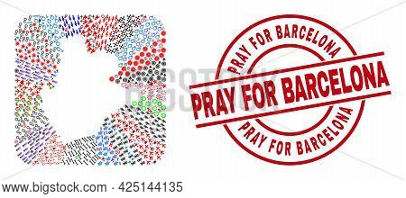 Vector Mosaic Barcelona Province Map Of Different Icons And Pray For Barcelona Badge. Mosaic Barcelo
