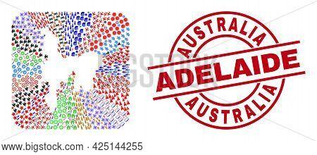 Vector Mosaic Hamilton Island Map Of Different Symbols And Australia Adelaide Badge. Mosaic Hamilton