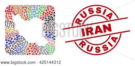Vector Mosaic Iran Map Of Different Pictograms And Russia Iran Seal Stamp. Mosaic Iran Map Created A