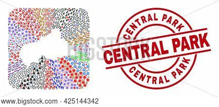 Vector Collage Central African Republic Map Of Different Pictograms And Central Park Badge. Collage
