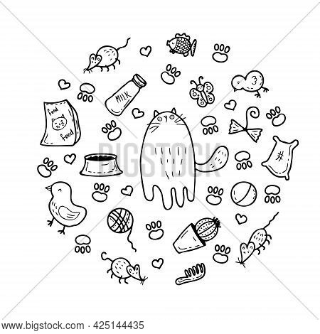 A Round-shaped Pattern Of Cute Kitty And Cat Care Elements. Perfect For Scrapbooking, Textile And Pr