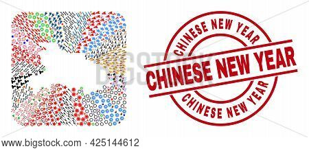 Vector Mosaic Hubei Province Map Of Different Symbols And Chinese New Year Seal. Mosaic Hubei Provin