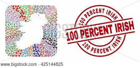 Vector Collage Ireland Island Map Of Different Symbols And 100 Percent Irish Seal. Collage Ireland I