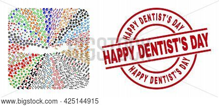 Vector Mosaic Flores Islands Of Indonesia Map Of Different Pictograms And Happy Dentists Day Seal St