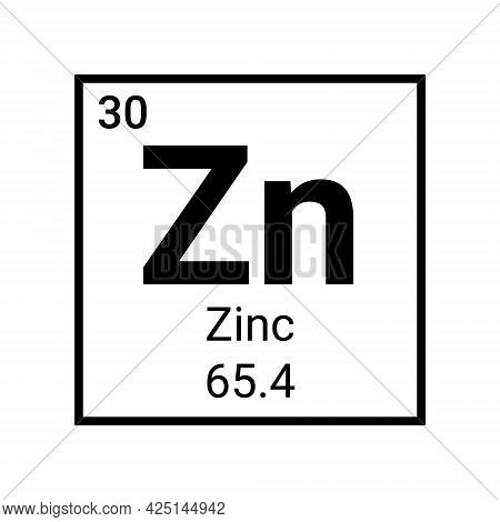 Zinc Periodic Table Element Icon. Vector Chemical Zinc Element Metal Sign