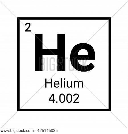 Helium Periodic Table Element Chemistry Symbol. Vector Helium Atom Gas Icon