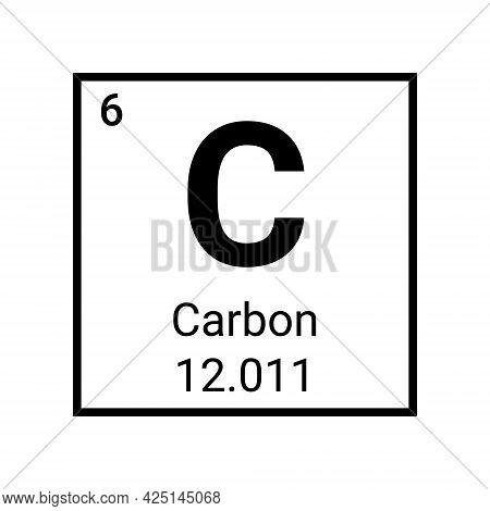 Carbon Table Element Vector Icon. Periodic Carbon Chemistry Atom Symbol Molecule
