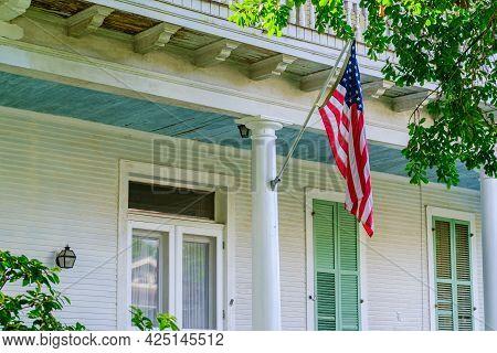 New Orleans, La - June 24: American Flag On Column Of Historic Home In Uptown Neighborhood On June 2
